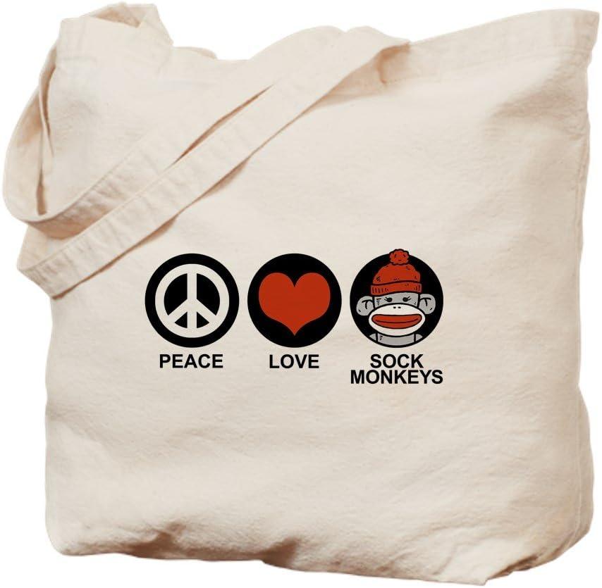 CafePress Peace Love Max 51% OFF Sock Monkeys Natural Max 55% OFF Canvas Tote Bag B