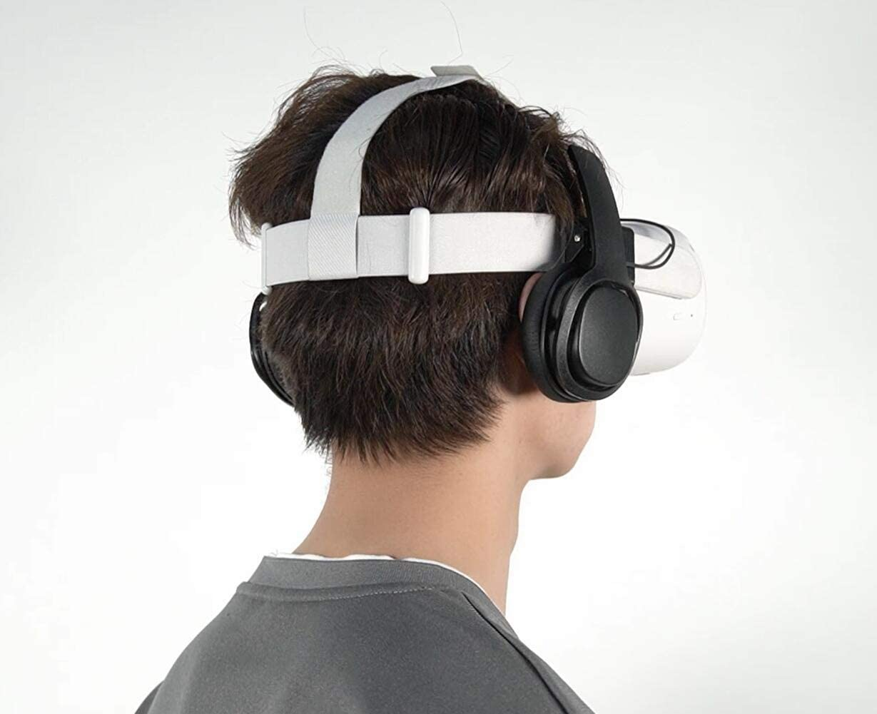 Stereo VR Headphones Custom Made for Oculus Quest 2 Original Head Strap - On Ear Deep Bass 3D 360 Degree Sound- Not Fit Well with The Quest 2 Elite Head Strap