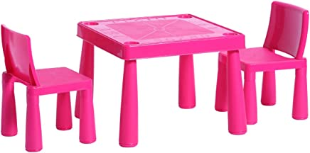 HomeStoreDirect Childrens Kids Plastic Garden Outdoor Indoor Table and Chairs Set For Boys Girls  Pink