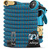 75ft Garden Hose, Abnija Expandable Water Hose Leakproof with Durable 3-Layers Latex Extra Strength Fabric Solid Brass...