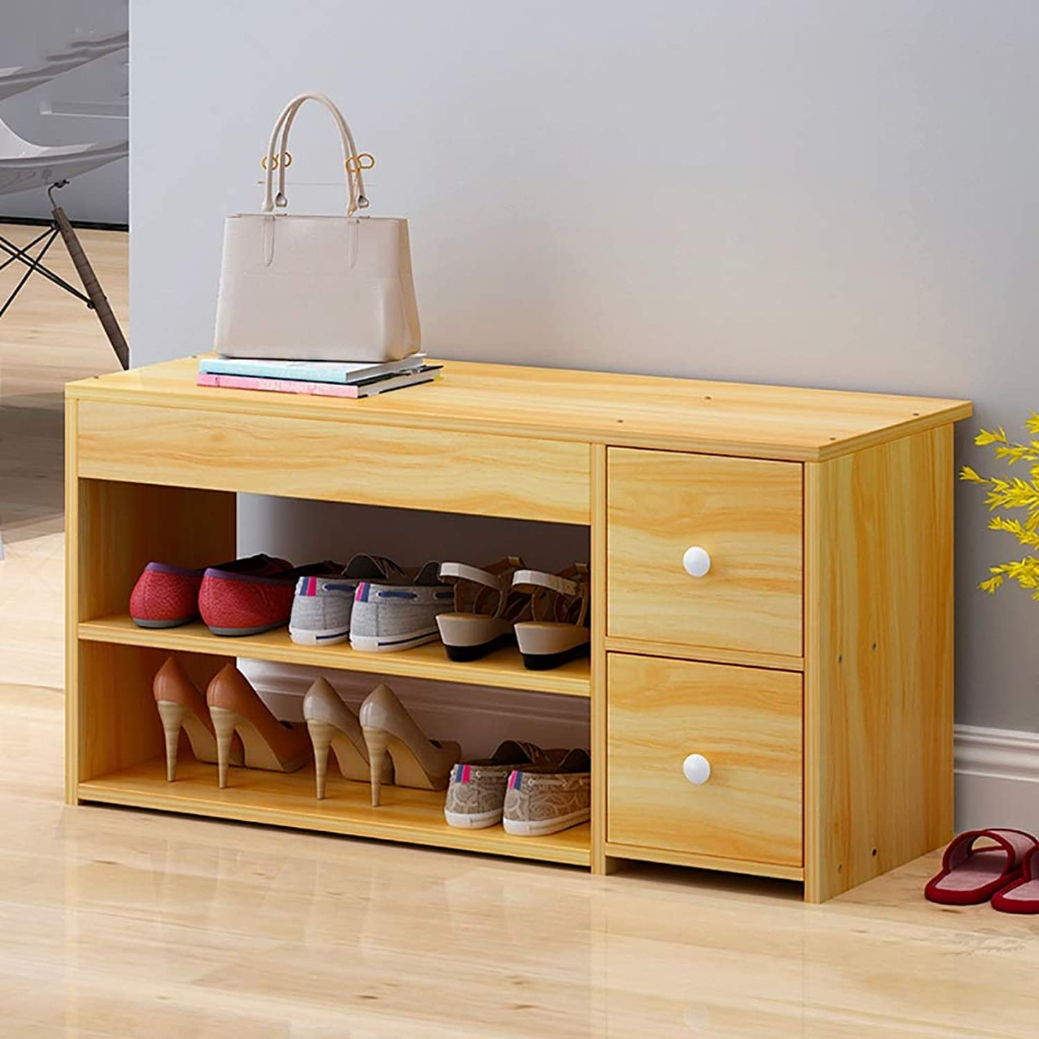 Entrance Door Change shoes Bench Double Layer shoes Rack shoes Stool Storage Stool Frame Sofa Stool shoes Cabinet Shelf for The Living Room Doorway (color   A, Size   80  30  42cm)