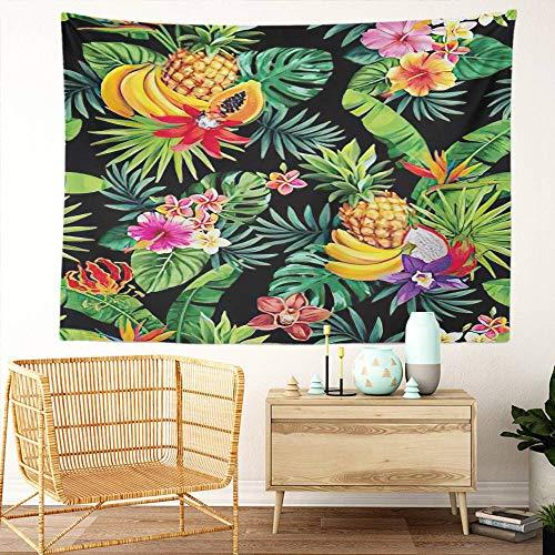 Y·JIANG Hawaii Tapestry, Tropical Fruits Palm Leaves and Flowers Home Dormitorio decorativo gran tapiz, manta ancha para colgar en la sala de estar, dormitorio, 80 x 60 pulgadas