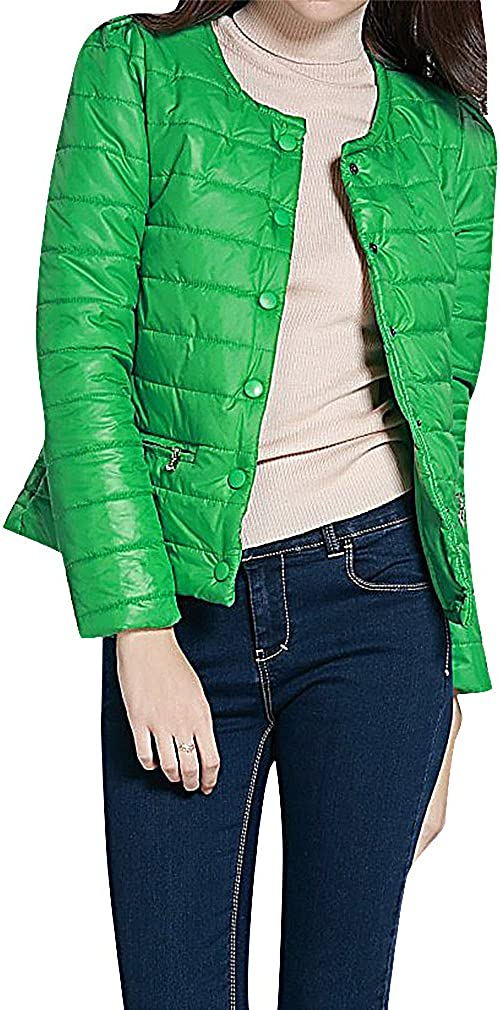 US&R Women Solid Color Quilted Buttoned 2 Zip Pockets Mini Down Jacket