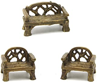 COUOC 2Chairs +1Bench Pieces Micro Garden Resin Chair Mini Bench Fairy Garden Chairs Set Miniature Doll House Decor Fairy ...