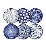 Selamica Porcelain Salad Pasta Bowls, Serving bowls, Microwave & Dishwasher Safe, Sturdy & Stackable - 26 Ounce, Set of 6, Vintage Blue
