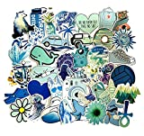 ZJJHX Dibujos Animados Azul Pequeño Ins Fresco Viento Graffiti Pegatinas Maleta de Viaje Refrigerador Monopatín Teléfono móvil Coche Pegatinas Impermeables 50 Hojas