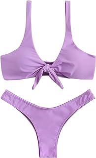 a62aaa03b7f SweatyRocks Women s Sexy Bikini Swimsuit Plaid Print Tie Knot Front Thong  Bottom Swimwear Set