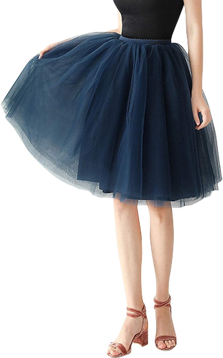 CHARTOU Womens Elastic-Waist A-Line Knee Length 7-Layer Maxi Tutu Tulle Petticoat Skirt