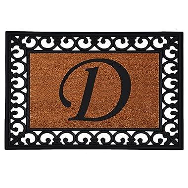 Home & More 180041925D Inserted Doormat, 19  X 25  x 0.60 , Monogrammed Letter D, Natural/Black