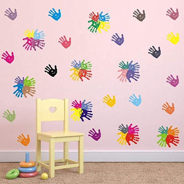BUCKOO Colorful Hand Prints Wall Decal Sticker Peel And Stick DIY Easy To Install Nursery Playroom Classroom Or Daycare Decor Wall Decals Home Decor