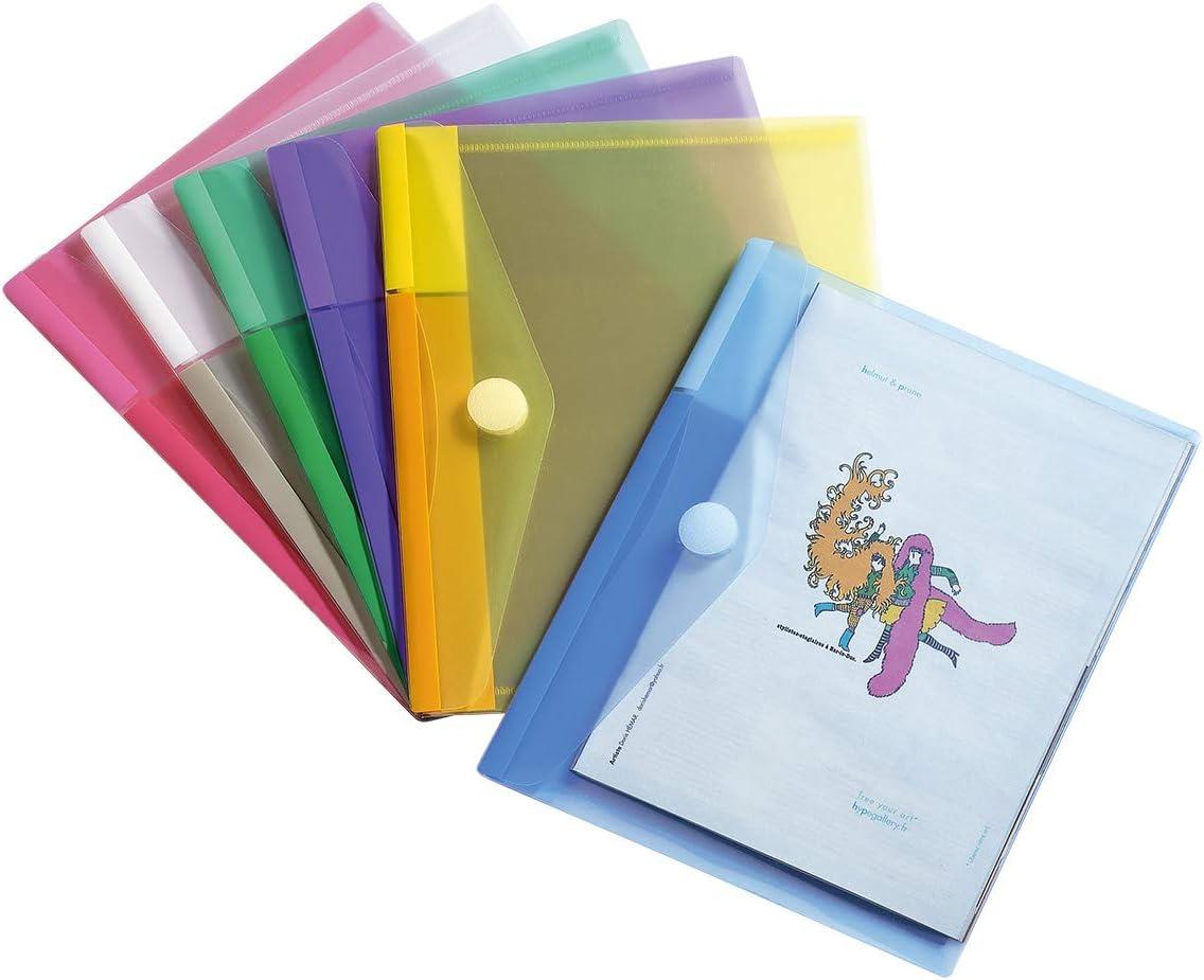Format A5 6 couleurs Sachet de 6 Pochettes Enveloppes Porte-documents Tarifold 12 Enveloppes Porte-documents Plastique Perfor/ées Fermeture Scratch Format A4-6 couleurs x2 /& Fr 510259