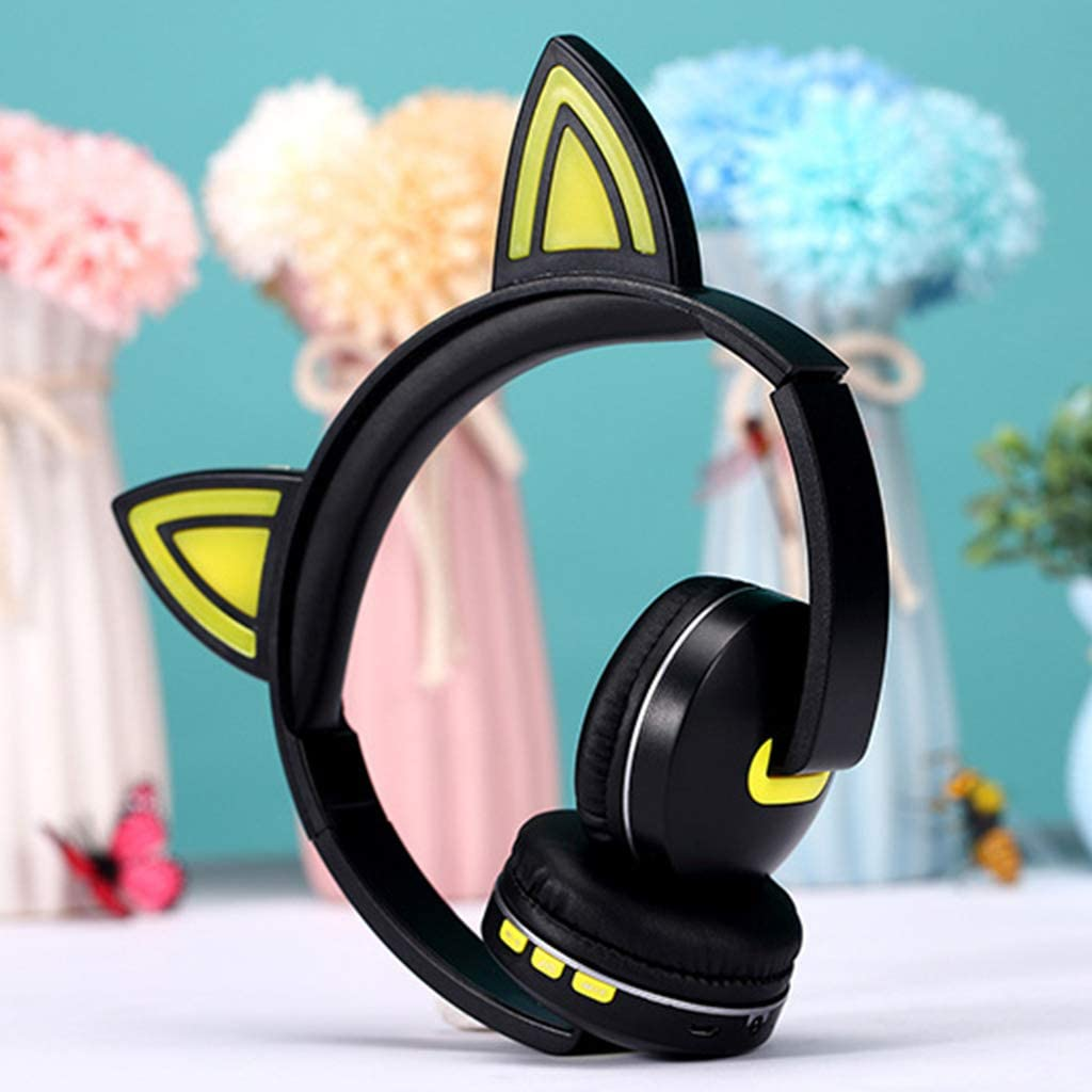 TY-UNLESS Bright Light Cat Ear Headphones Bluetooth Wireless Cat Ear Stereo Gaming Headset Blue