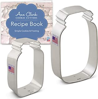 Ann Clark Cookie Cutters 2-Piece Mason Jar Cookie Cutter Set with Recipe Booklet, 3.5