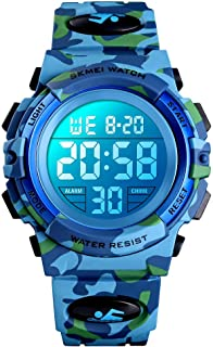 XFCS Kids Watch Girl Boys Camouflage Digital Sport Watch Waterproof EL-Lights Electrical Watches with Alarm Stopwatch Child Wrist Watch Outdoor