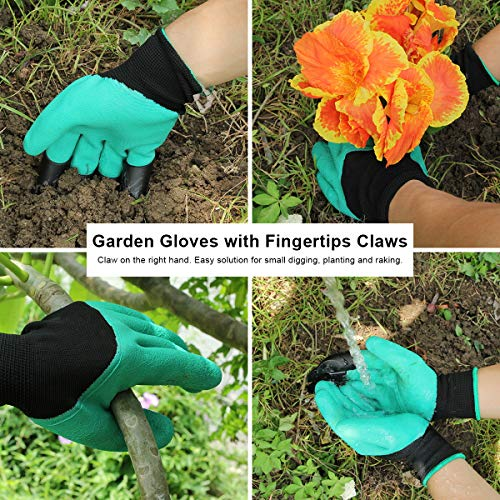 Aladom Garden Tools Set 10 Pieces, Gardening Kit with Heavy Duty Aluminum Hand Tool and Digging Claw Gardening Gloves for Men Women,Green