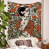 Tapiz De Pared, Trippy Psicodélico Hippie Tapiz Colgante De Pared Flores Naranjas Belleza Y Cráneo, Tejido Rectangular Grande Decoración Artística De Salón Dormitorio,200×150Cm.