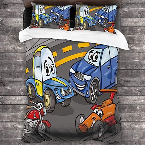 BEITUOLA Juego de Funda nórdica,Comic Cars and Motorcycle Cartoon Personajes Diseño de Sala de Juegos,1 Funda de Edredón y 2 Fundas de Almohada 240 x 260cm
