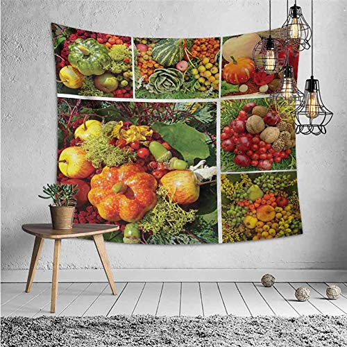 jecycleus Harvest Psychedelic Tapestry Hippie Photograph of Products from Various Gardens and Fields Seasonal Foods Apple Walnuts Tapestry for Rome Decor W80 x L60 Inch Multicolor