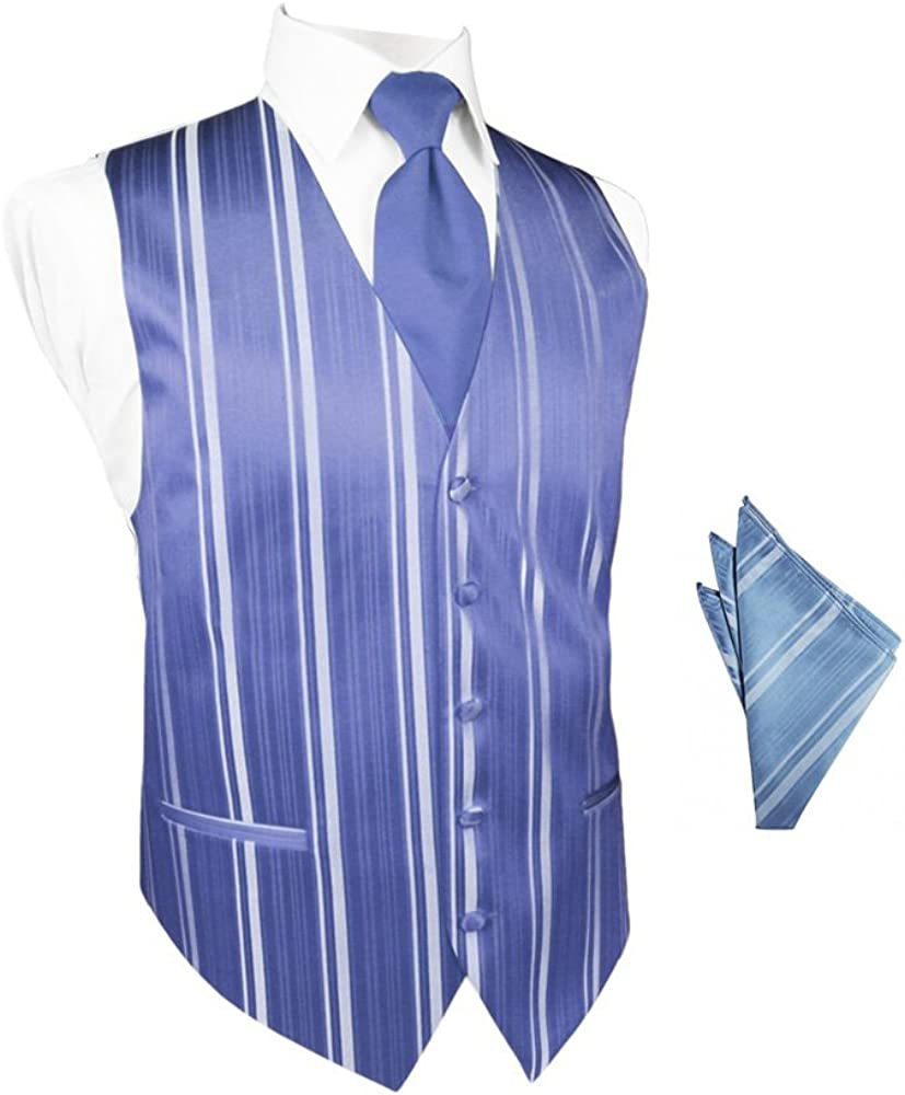 Cornflower Striped Satin Tuxedo Vest with Long Tie and Pocket Square Set