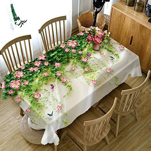 XXDD Mantel con patrón 3D de Paisaje de Flores, Mantel Rectangular de algodón Grueso a Prueba de Polvo para Boda, Fiesta de Picnic, A2 140x160cm