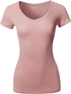 Women's Solid Basic V-Neck Short Sleeves Top