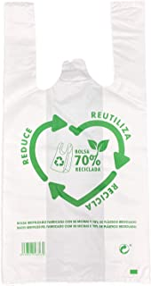 ZCENTER 120 uds Bolsas de Plástico Tipo Camiseta Resistentes, Reutilizables y 70% Recicladas, Tamaño 30x40 cm…