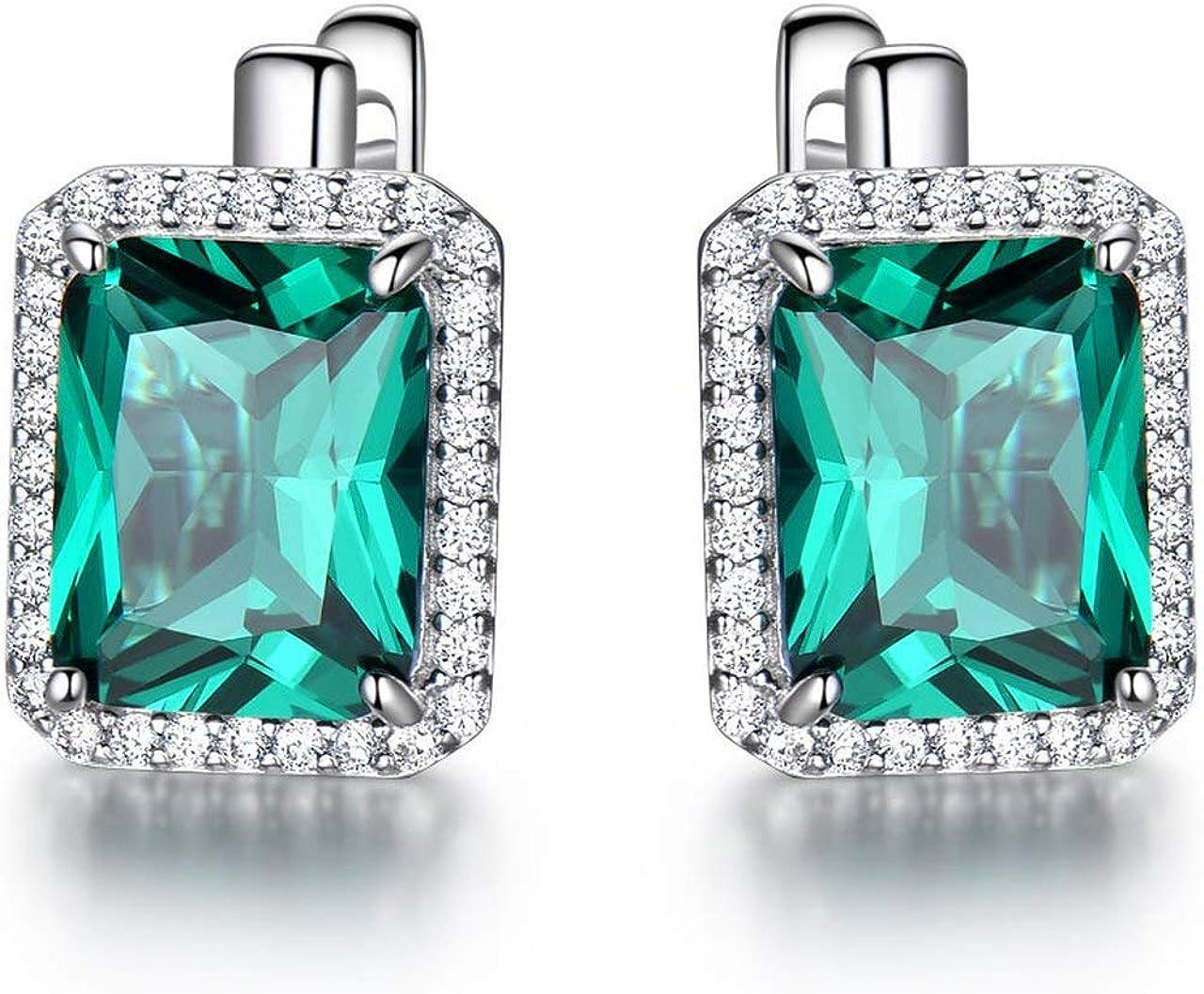 Cushion Cut Green Emerald 5 ☆ popular Gemstone Clip Earrings for Women Ar on Ranking TOP20