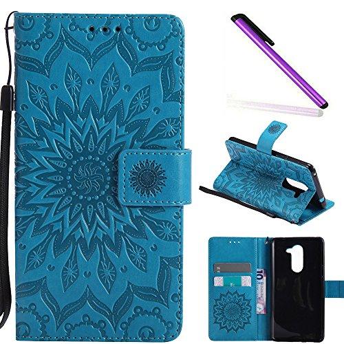 COTDINFOR Huawei Honor 6X Custodia Premium PU Leather Mandala Fiore Elegante Wallet Custodia a Rilievo Custodia Folio Flip Cover Case con Kickstand Card per Huawei Honor 6X Blue Sunflower KT.