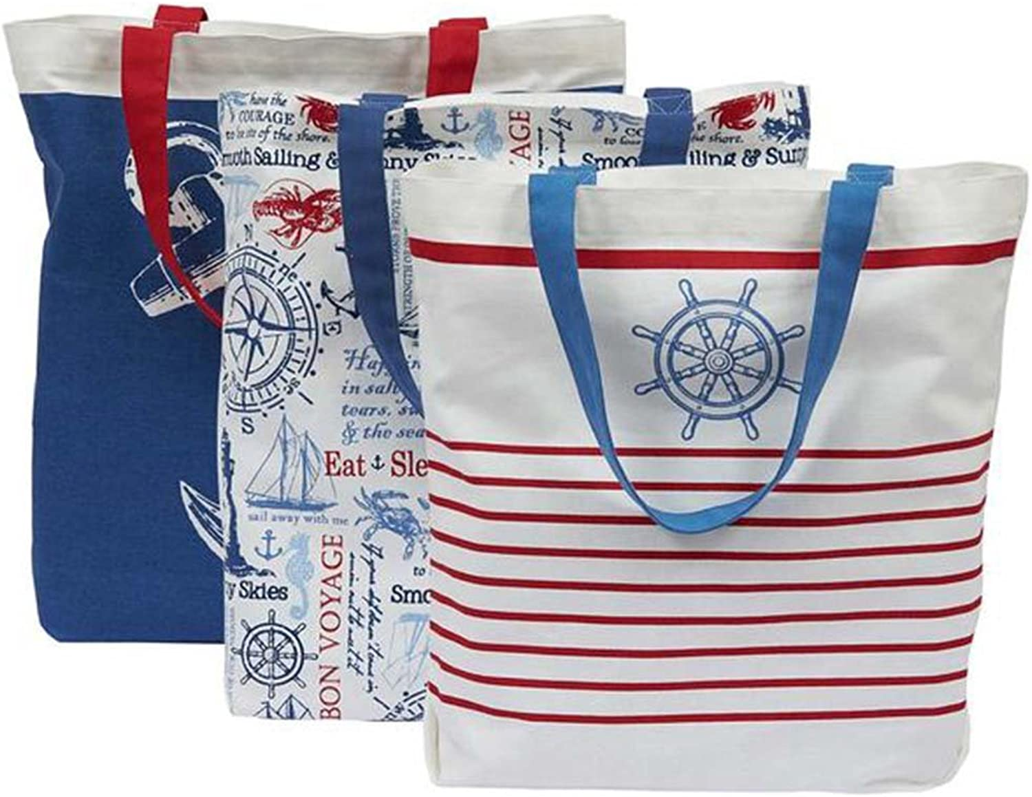 DII Design Imports Printed Canvas Totes  Set of 3