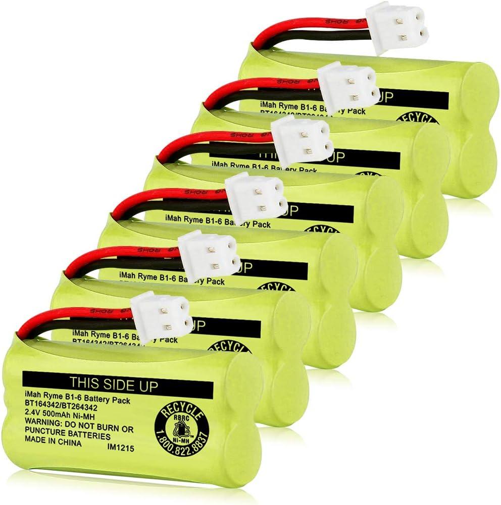 iMah BT164342 BT264342 BT183342 BT283342 BT166342 BT266342 BT162342 BT262342 Battery Compatible with VTech CS6114 CS6419 CS6719 CS6719-2 AT&T EL52300 CL80112 Cordless Handset Phone, Pack of 6