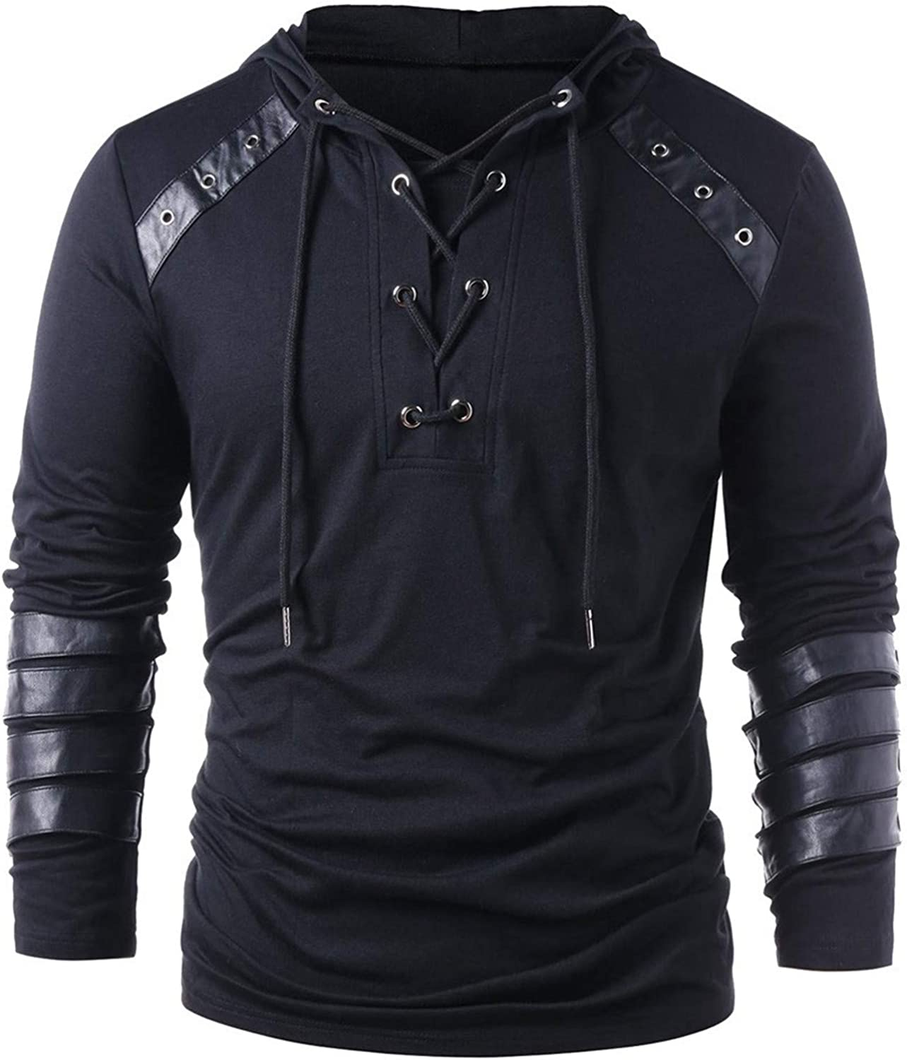 HONGJ Gothic Steampunk Shirts for Mens, Lace Up Tether Knight Pullover Hooded Sweatshirts Tops Teen Boys Medieval Jumper