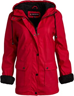 Ladies Hooded Vinyl Rain Jacket with Fur Lining (Plus