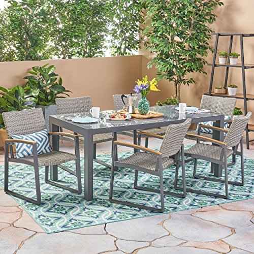 Christopher Knight Home Teina Outdoor Aluminum and Wicker 7 Piece Dining Set with Glass Table Top, Gray and Gray