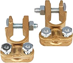 Ampper Brass Battery Terminals Connectors Clamps, Top Post Battery Terminal Protector Set for Marine Car Boat RV Vehicles (1 Pair)