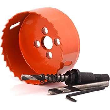 """Koopi 3-1/2"""" BI-METAL Hole Saw with Arbor and Replacement Pilot Drill Bit, 89mm Diameter Hole Cutter for Easily Drilling Wood, Plastic, Thin Metal(3.5 inch)"""