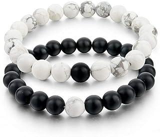 2pcs Long Distance Relationship Bracelets Black White Natural Stone for Couple Friends Matte Black White