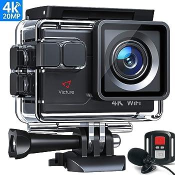 Victure AC700 Action Cam 4K 20MP WiFi Unterwasserkamera wasserdichte 40M Action Helmkamera mit 2.4G Fernbedienung, externem Mikrofon PC Camera