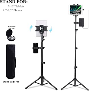 Ecoolbuy Portable Universal Floor Tablet Tripod Mount Stand Bracket for 7 to 10 inch Tablets 360°Height Adjustable Display Music Meeting Video + Bag