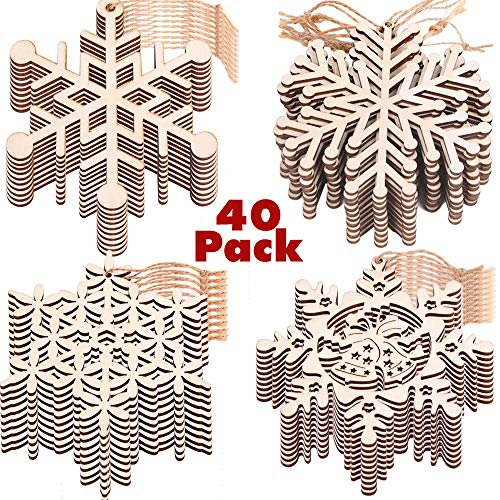 PartyBus Christmas Wood Cutouts, Unfinished Snowflake Wooden Ornaments for Holiday Card Decoration, Xmas Gift Tags for Kids Art & Craft DIY, Burlap String Pre-tied Slices Rustic Coaster Décor