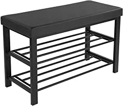 $25 » Shoe Bench, 3-Tier Shoe Rack for Entryway, Storage Organizer with Foam Padded Seat, Faux Leather, Metal Frame, for Living Room, Hallway, 31.5 x 11.8 x 19.7 inches, Black
