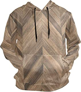 SLHFPX Wooden Chevron Vintage Hoodie 3D Pullover Hooded Long Sleeve Workout Sweatshirts