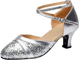 Women Ballroom Dance Shoes Latin Salsa Performance Dance Shoes Wedding Sandals Ankle Strap Office Work Shoes 2'' Heels