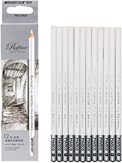 Artist Sketch White Pencil 12 PCS (White Charcoal Pencil)
