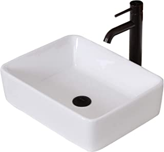 ELITE Bathroom Rectangle White Ceramic Porcelain Vessel Sink & Oil Rubbed Bronze Faucet Combo