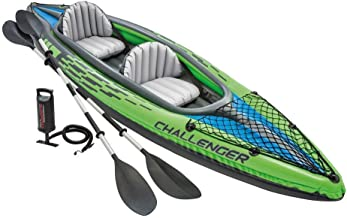 Intex Challenger K2 Kayak, 2-Person Inflatable Kayak Set with Aluminum Oars and High Output Air Pump (Renewed)