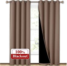 NICETOWN Complete Blackout Shades for Large Window Door, 100% Blackout Window Curtain Panels with Black Lined, 52 inches Width Each Panel, 95 inches Length, Taupe, Double Pieces