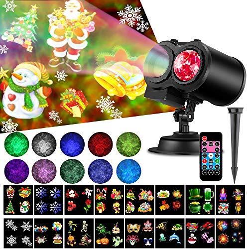クリスマス プロジェクターライト 海洋ライト RGB多色変化 LED投光器 イルミネーション プロジェクションライト 防水 リモコン 屋外 投影ランプ ロマンチック パーティー 雰囲気作り スポットライト ステージライト 置物ライト 室内 (12W 16投影)