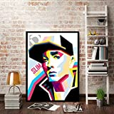ganlanshu Retrato de Rapero Pintura Lienzo Moderno póster Pared Arte decoración Sala de Estar,Pintura sin marco-60X80cm