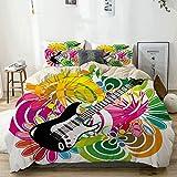 Juego de funda nórdica beige, composición abstracta hawaiana con hojas de colores e instrumento de guitarra, juego de cama decorativo de 3 piezas con 2 fundas de almohada, fácil cuidado, antialérgico,
