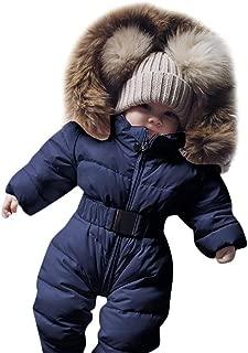 Franterd Baby Girls Boys Romper Down Jacket Hooded Jumpsuit Autumn & Winter Warm Thick Coat Onesie Snowsuit Clothes